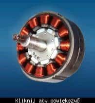 Zdjęcie silnika BLDC z widocznymi uzwojeniami i magnesami (źródło: analogtalk.com)
